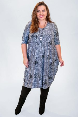 The model in this photo is wearing an over the knee dress from Angel Circle in pebble print jersey from Bakou available up to size 30