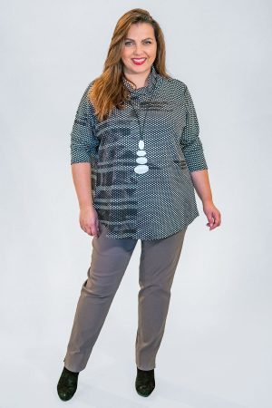 The model in this photo is wearing a striking tunic by Doris Streich teamed with Robell Marie trousers from Bakou