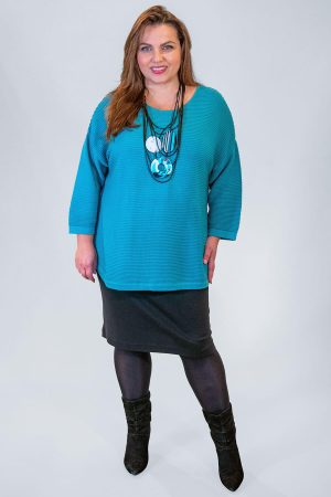 The model in this photograph is wearing a short stretchy skirt by Doris Streich teamed with a gorgeous Orientique ribbed jumper. Available in plus sizes