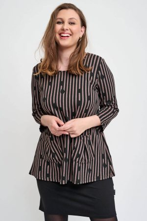 The model in this photo is wearing a funky spot/stripe tunic called Lotte from Danish designers Pont Neuf