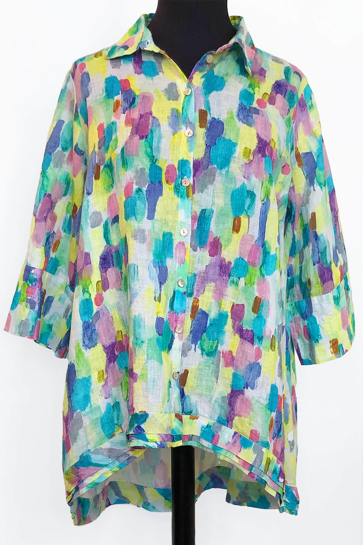 Grizas uneven linen shirt patterned