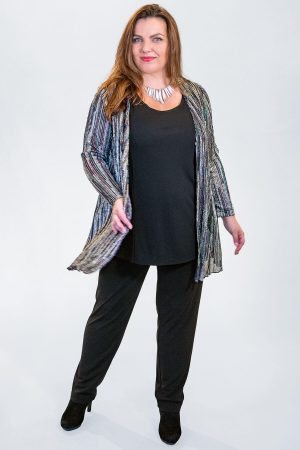 The model in this photo is wearing a divine sparkly, glittery jacket from Verpass available in plus sizes from Bakou